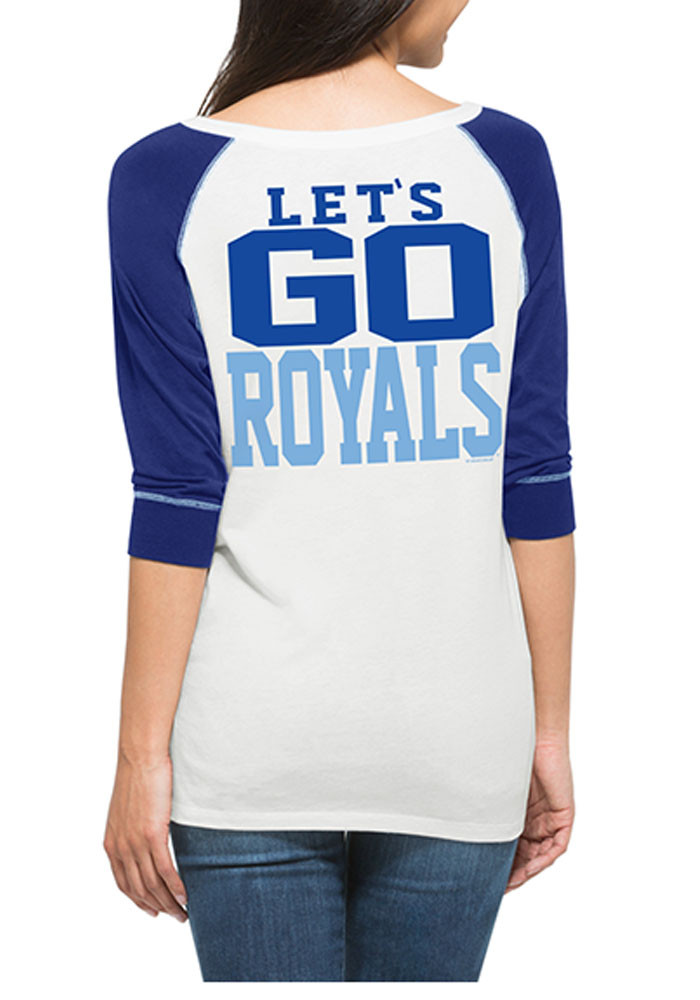 '47 KC Royals Womens White Glitz Henley Long Sleeve Scoop Neck - Image 2