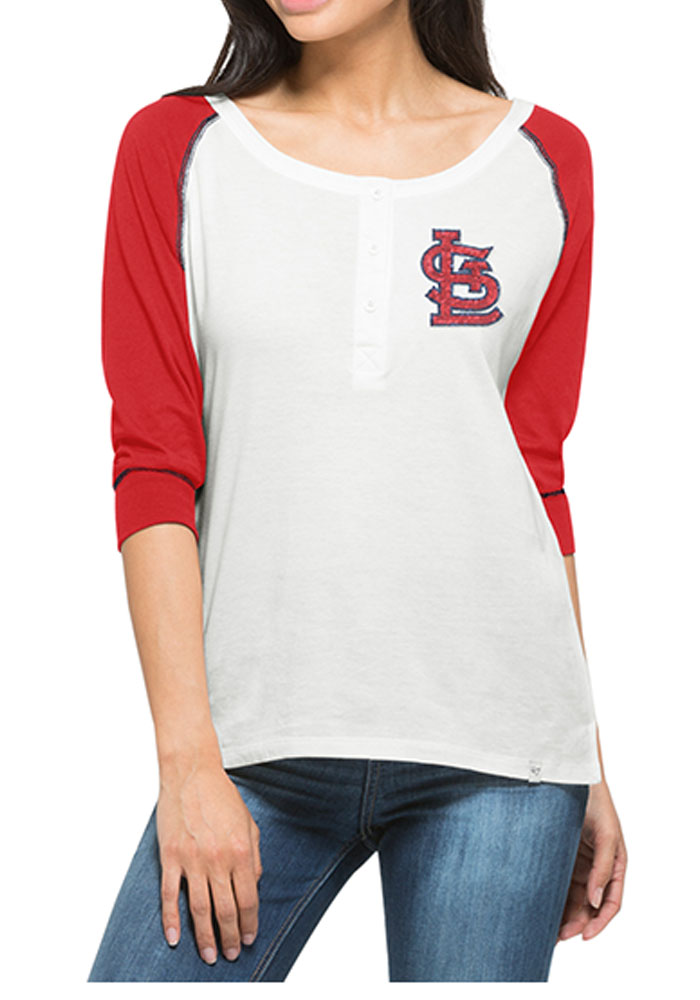 '47 STL Cardinals Womens White Glitz Henley Long Sleeve Scoop Neck - Image 1