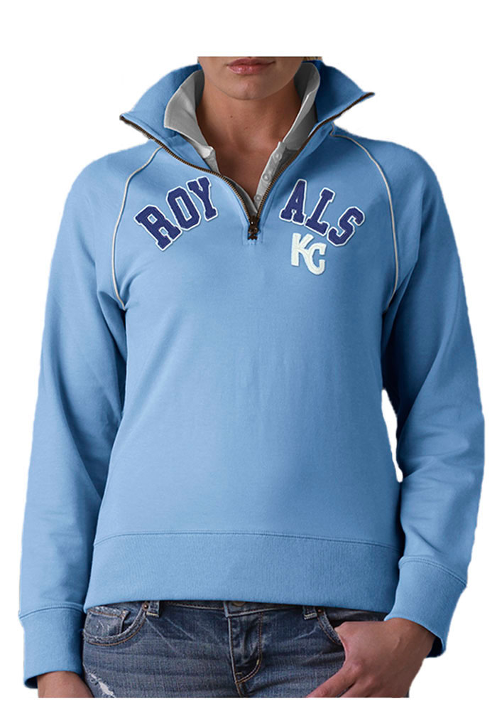 '47 Kansas City Royals Womens Light Blue Blitz 1/4 Zip Pullover - Image 1