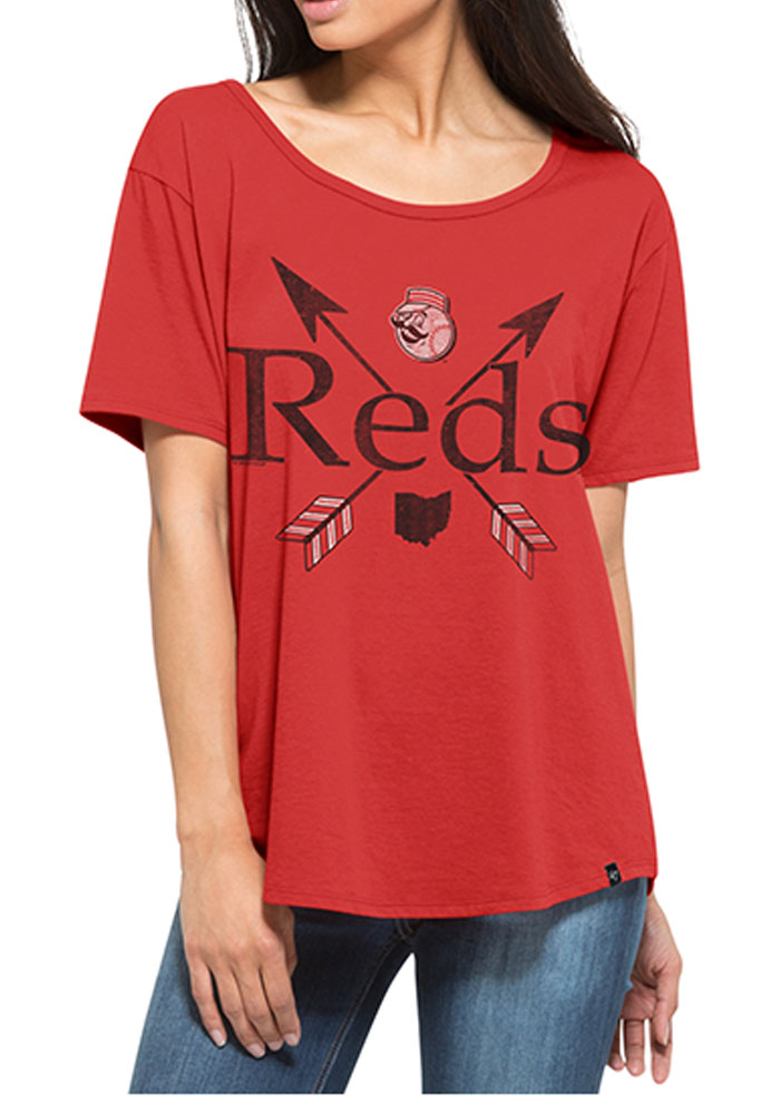'47 Cincinnati Reds Womens Red Boyfriend Short Sleeve T-Shirt - Image 1