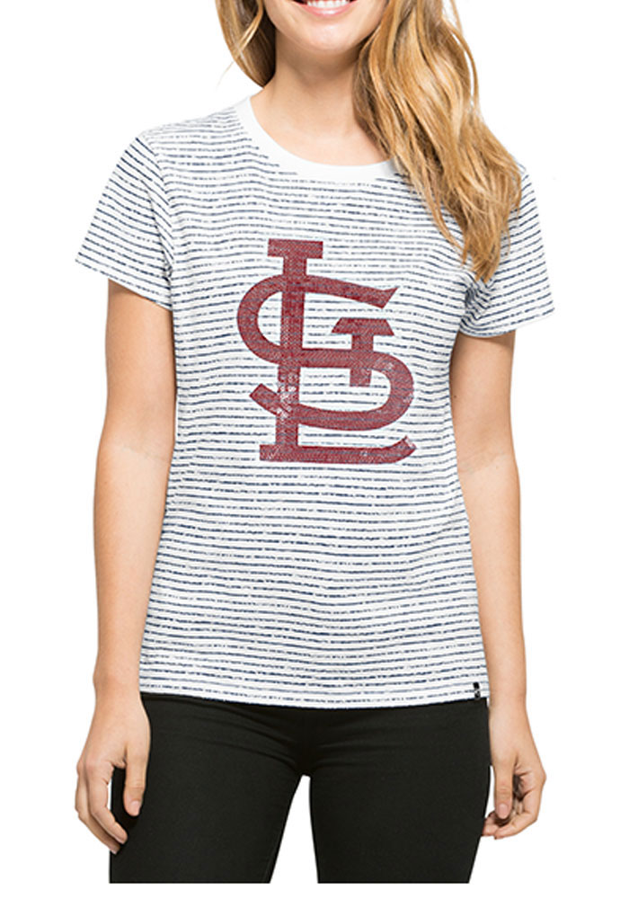 '47 St Louis Cardinals Womens White Sparkle Stripe Short Sleeve Crew T-Shirt - Image 1