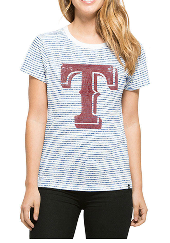 '47 Texas Rangers Womens White Sparkle Stripe Short Sleeve Crew T-Shirt - Image 1