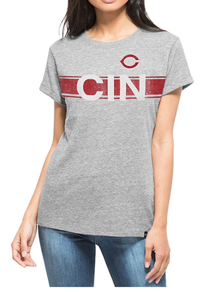 '47 Cincinnati Reds Womens Grey Super Hero Short Sleeve T-Shirt - Image 1
