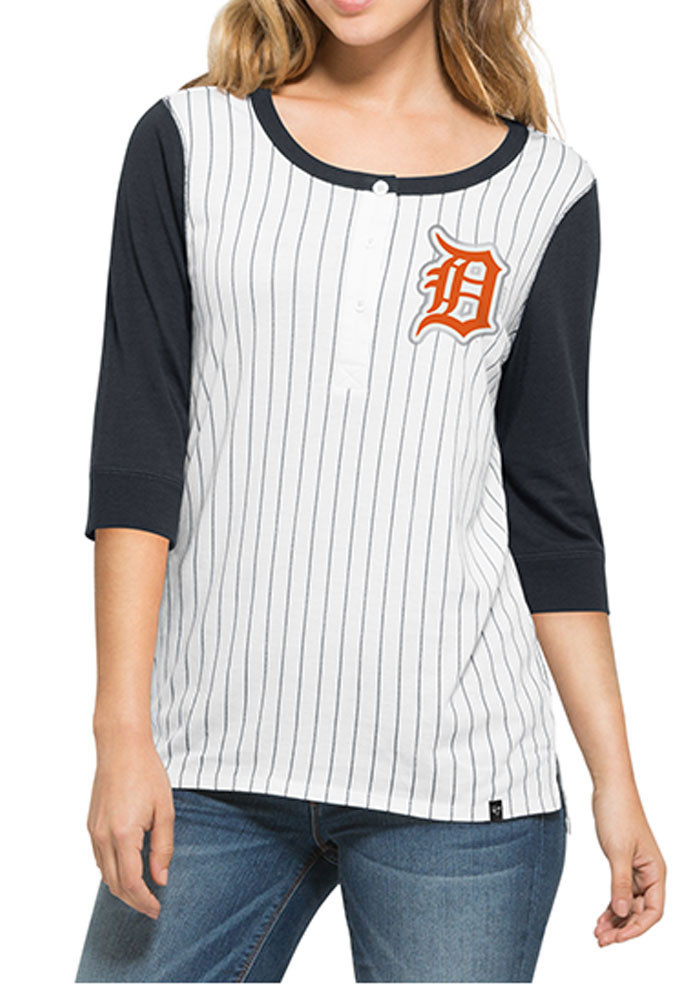 '47 Detroit Tigers Womens White Triple Crown Henley Long Sleeve Scoop Neck - Image 1