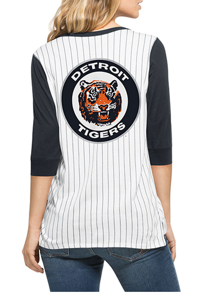 '47 Detroit Tigers Womens White Triple Crown Henley Long Sleeve Scoop Neck - Image 2