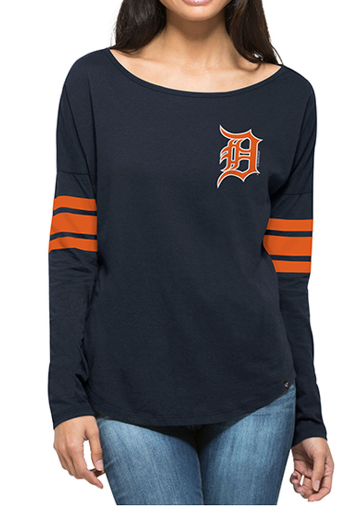 '47 Detroit Tigers Womens Navy Blue Ultra Courtside LS Tee - Image 1