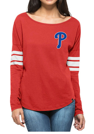 '47 Philadelphia Phillies Womens Ultra Courtside Red LS Tee