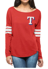 '47 Texas Rangers Womens Ultra Courtside Red LS Tee