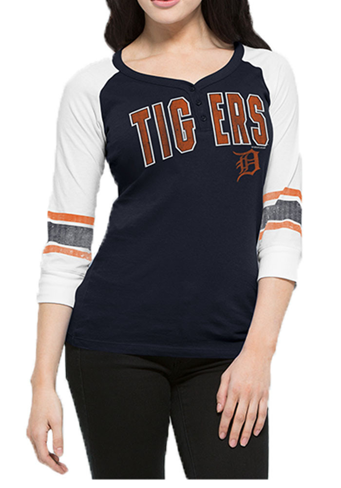 '47 Detroit Tigers Womens Navy Blue Rookie Henley Long Sleeve T-Shirt - Image 1
