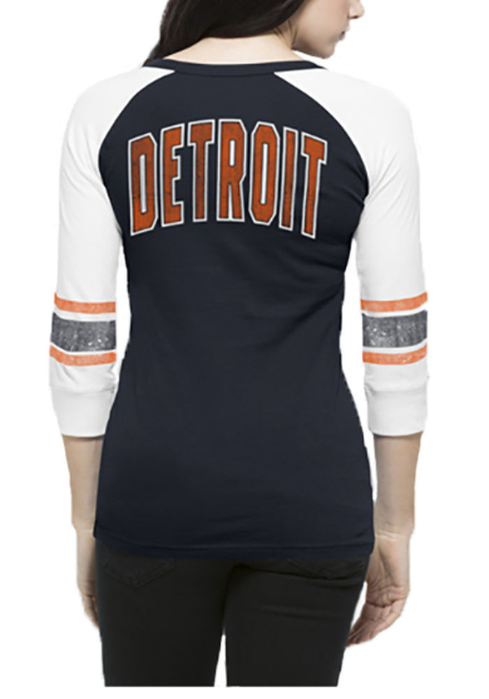 '47 Detroit Tigers Womens Navy Blue Rookie Henley Long Sleeve T-Shirt - Image 2