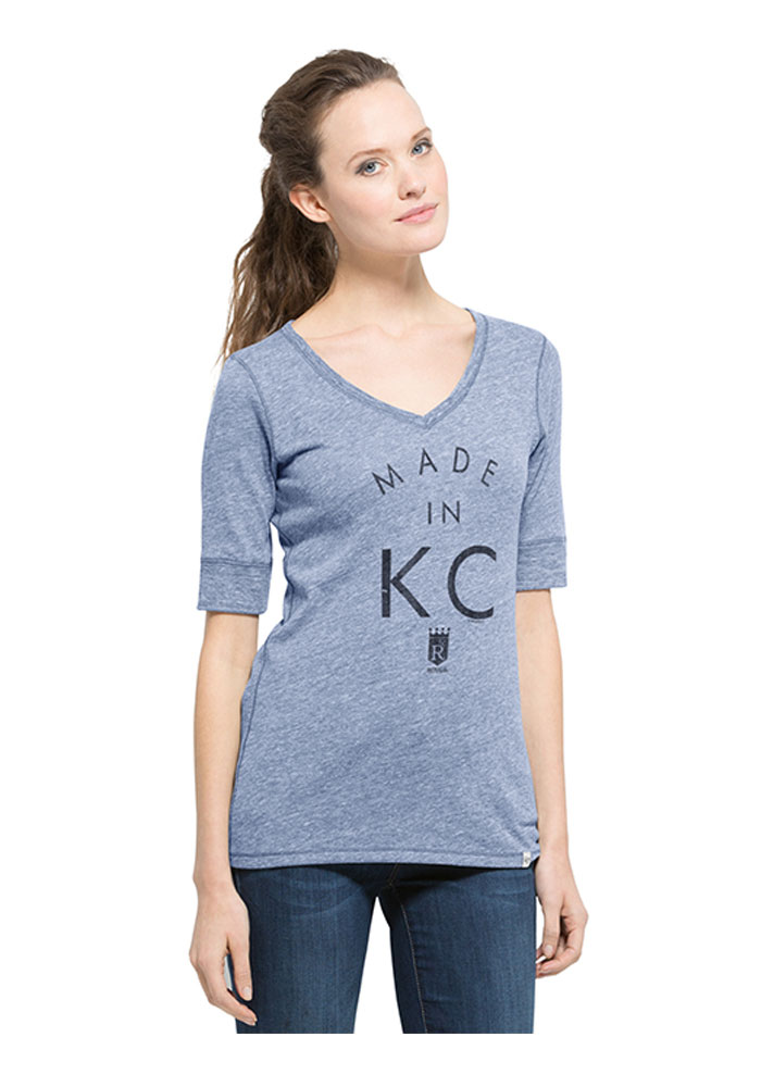 '47 Kansas City Royals Womens Light Blue Made in KC V-Neck T-Shirt - Image 1