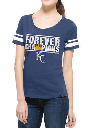 '47 KC Royals Womens Champs Forever Blue Scoop T-Shirt