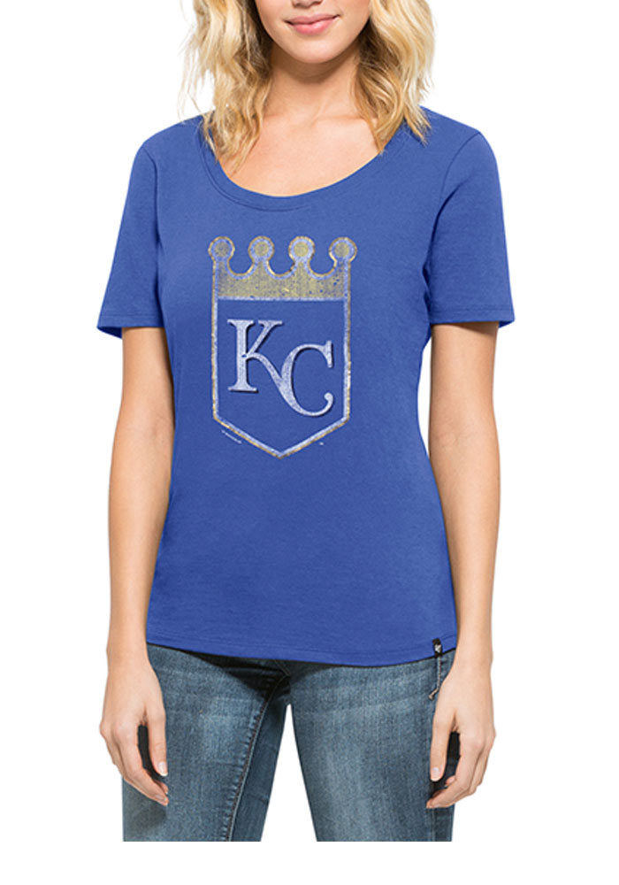 '47 Kansas City Royals Womens Blue Runback Scoop T-Shirt - Image 1