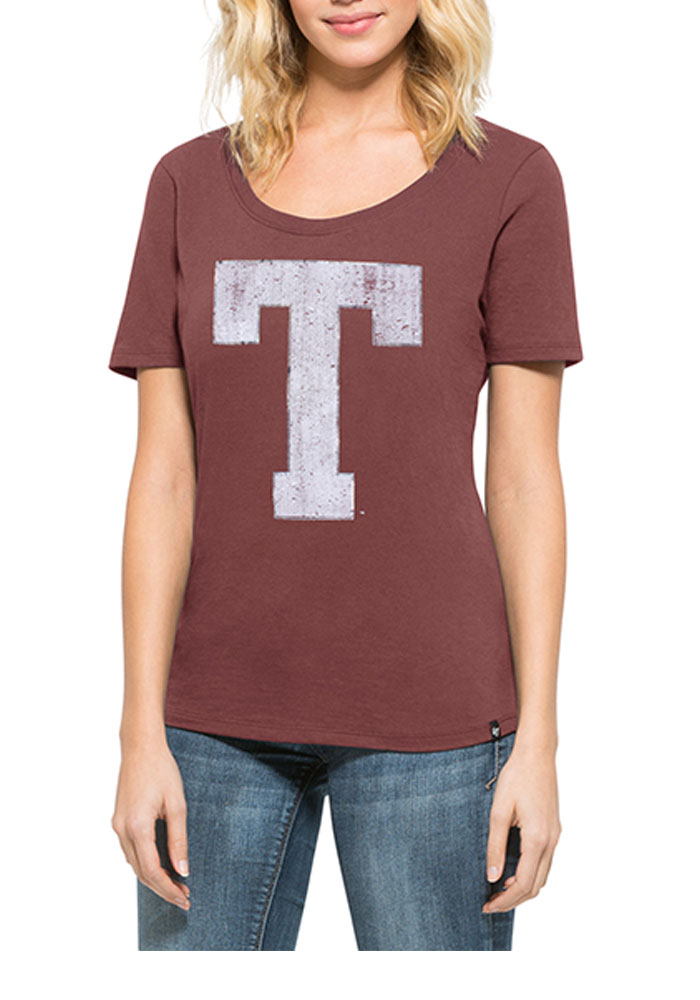47 Texas A&M Aggies Juniors Runback Maroon Scoop T-Shirt