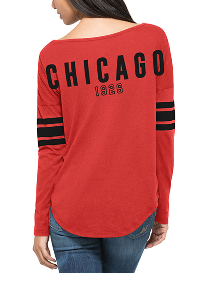 47 Chicago Blackhawks Womens Red Courtside LS Tee - Image 2