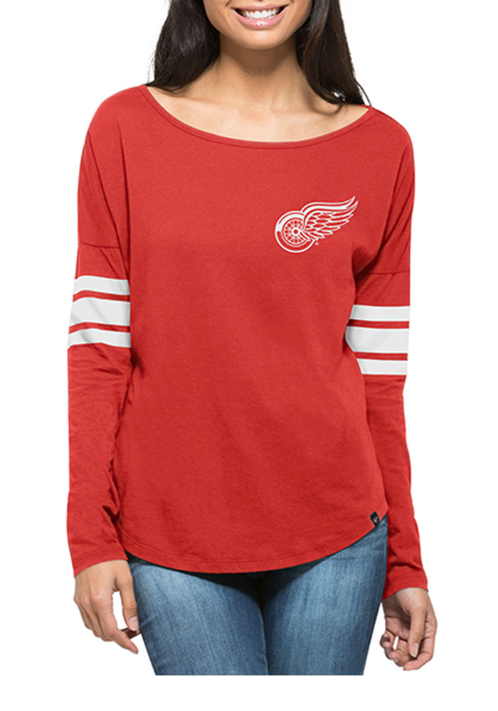 47 Detroit Red Wings Womens Red Ultra Courtside LS Tee - Image 1