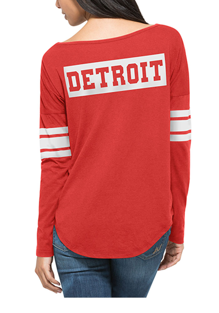 47 Detroit Red Wings Womens Red Ultra Courtside LS Tee - Image 2