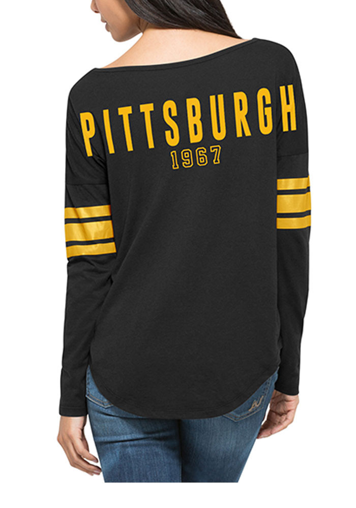 '47 Pittsburgh Penguins Womens Black Courtside LS Tee - Image 2