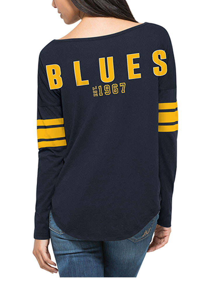 '47 St Louis Blues Womens Navy Blue Courtside LS Tee - Image 2