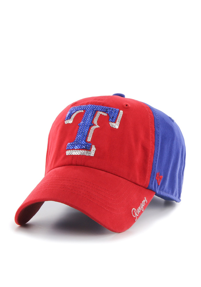 '47 Texas Rangers Blue Two Tone Sparkle Womens Adjustable Hat - Image 1