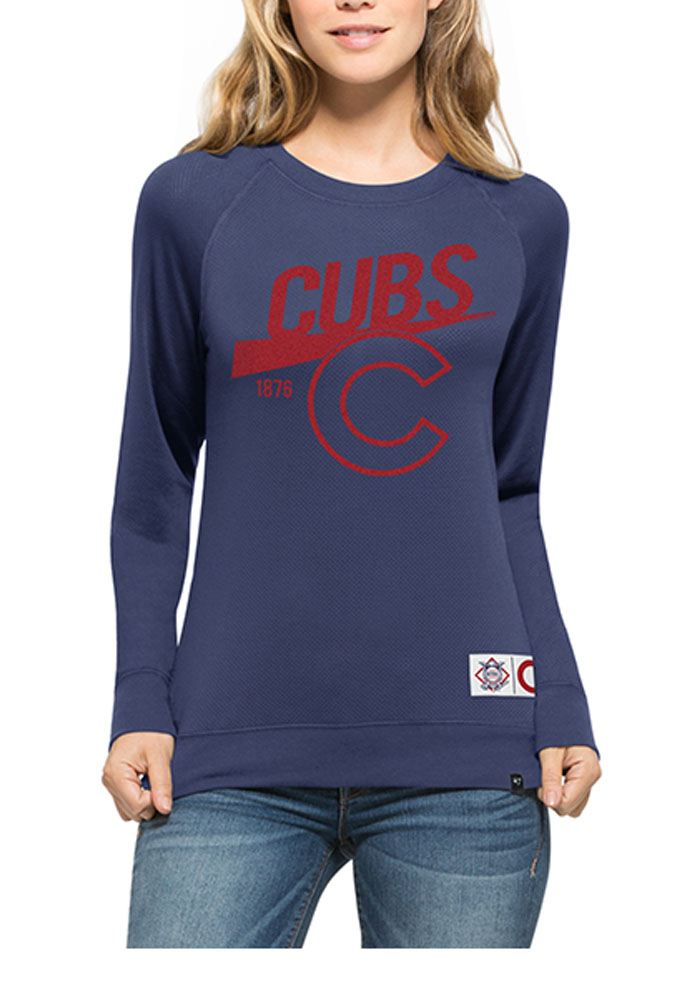 '47 Chicago Cubs Womens Blue Mesh Crew Sweatshirt - Image 1