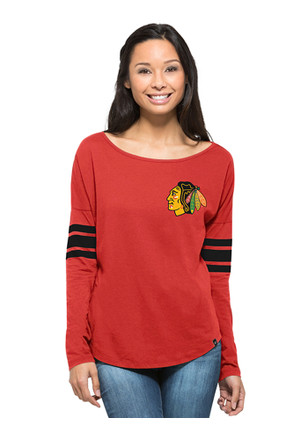 '47 Chicago Blackhawks Womens Ultra Courtside Red LS Tee