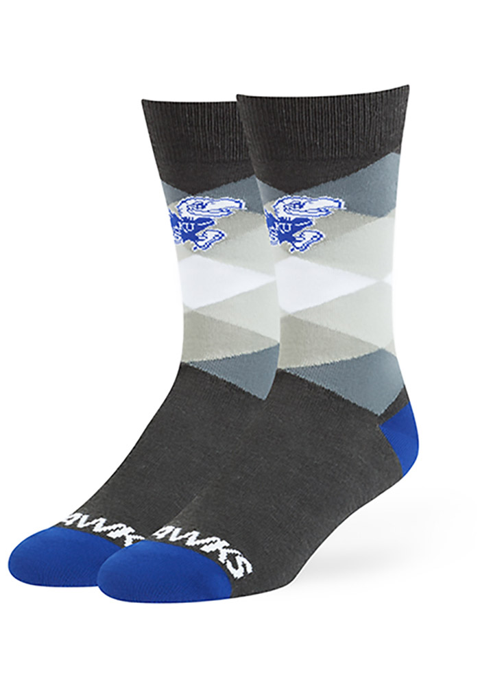 47 Kansas Jayhawks Mens Grey Prescott Argyle Socks
