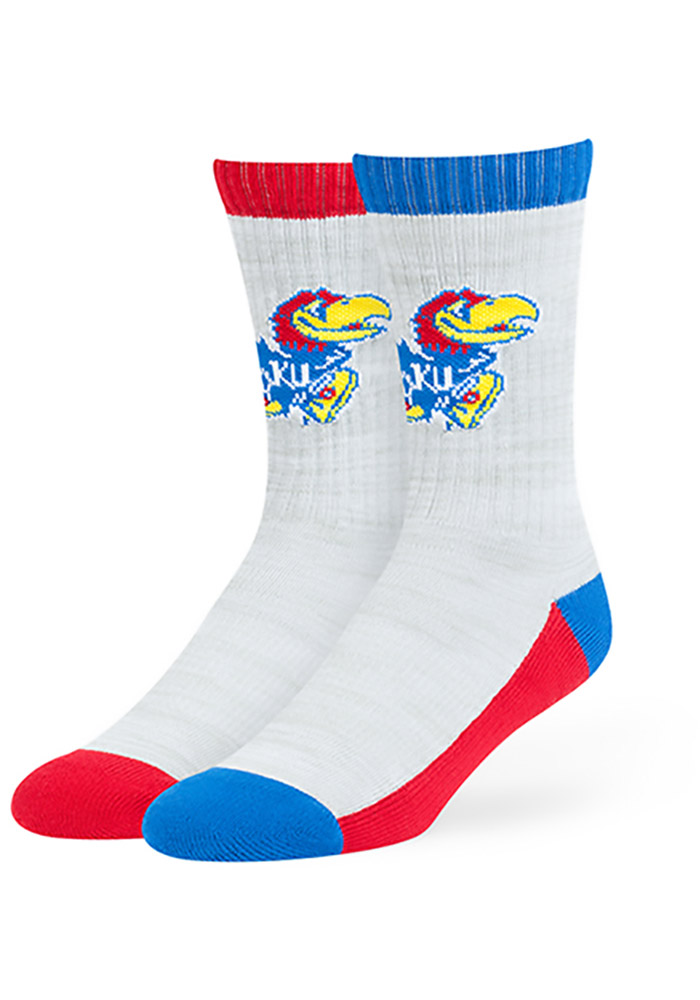 47 Kansas Jayhawks Mens Grey Thatcher Crew Socks