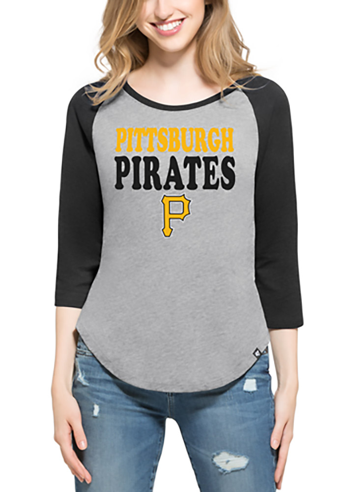 47 Pittsburgh Pirates Womens Grey Club Raglan Long Sleeve Crew T