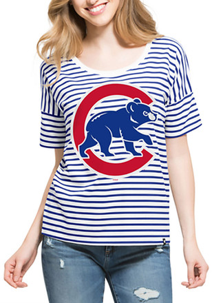 '47 Chicago Cubs Womens Blue Coed Stripe Scoop