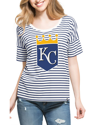 '47 KC Royals Womens Blue Coed Stripe Scoop