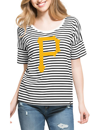 '47 Pitt Pirates Womens Black Coed Stripe Scoop