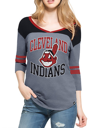 '47 Cleveland Indians Womens Blue Replay Rush T-Shirt
