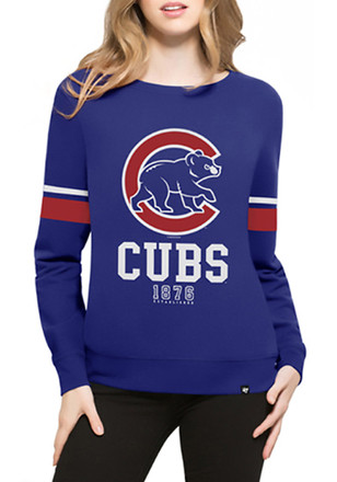 '47 Chicago Cubs Womens Throwback Blue Crew Sweatshirt