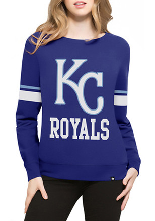 '47 Kansas City Royals Womens Throwback Blue Crew Sweatshirt