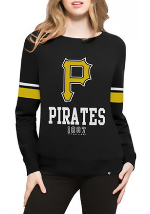 '47 Pittsburgh Pirates Womens Throwback Black Crew Sweatshirt