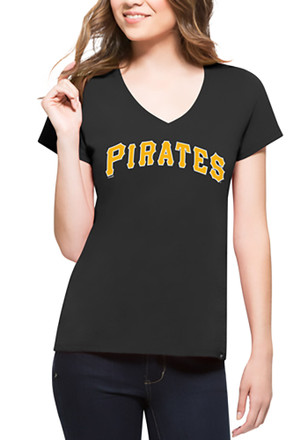 '47 Pittsburgh Pirates Womens Black Splitter V-Neck