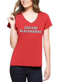 47 Chicago Blackhawks Womens Red Splitter V-Neck