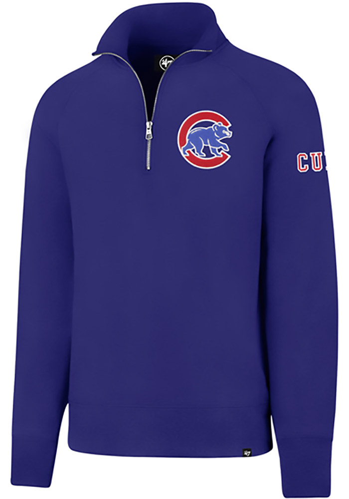 '47 Chicago Cubs Mens Blue Sport Long Sleeve 1/4 Zip Fashion Pullover - Image 1