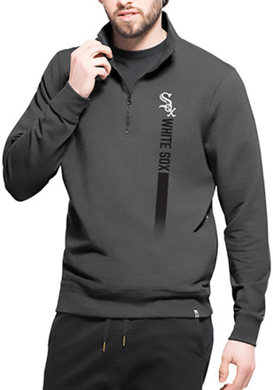 '47 Chicago White Sox Mens Black On Side 1/4 Zip Pullover