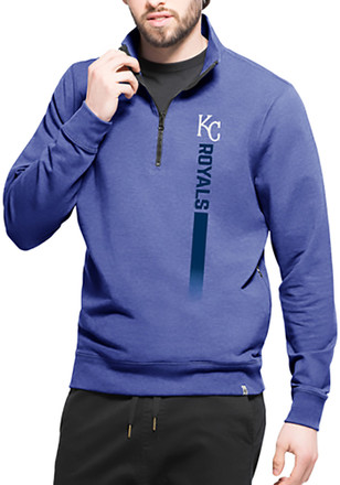 '47 Kansas City Royals Mens Blue On Side Athleisure 1/4 Zip