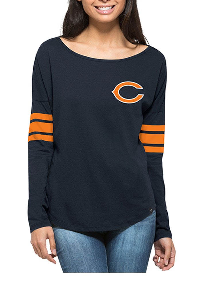 '47 Chicago Bears Womens Navy Blue Courtside LS Tee - Image 1