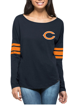 '47 Chicago Bears Womens Courtside Navy Blue LS Tee