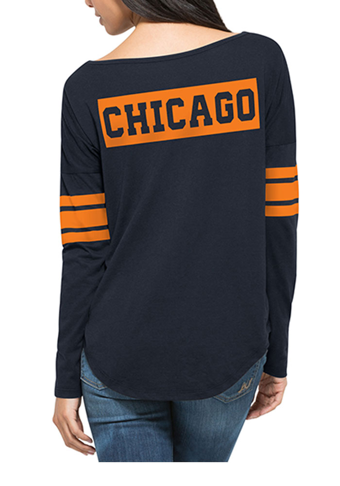 '47 Chicago Bears Womens Navy Blue Courtside LS Tee - Image 2