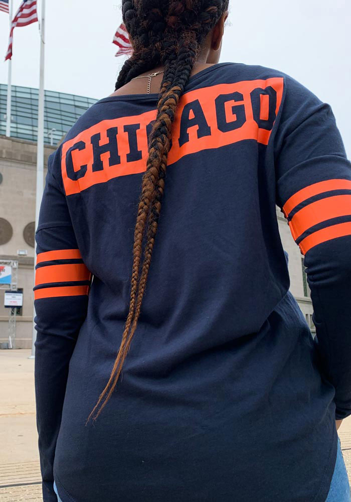 47 Chicago Bears Womens Navy Blue Courtside LS Tee - Image 4