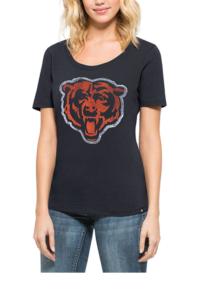 '47 Chicago Bears Womens Navy Blue Lux Sequin Scoop T-Shirt - Image 1