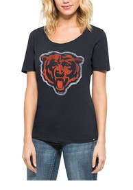 47 Chicago Bears Womens Lux Sequin Navy Blue Scoop T-Shirt