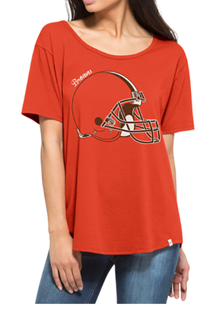 '47 Cleveland Browns Womens Orange Boyfriend Scoop T-Shirt - Image 1