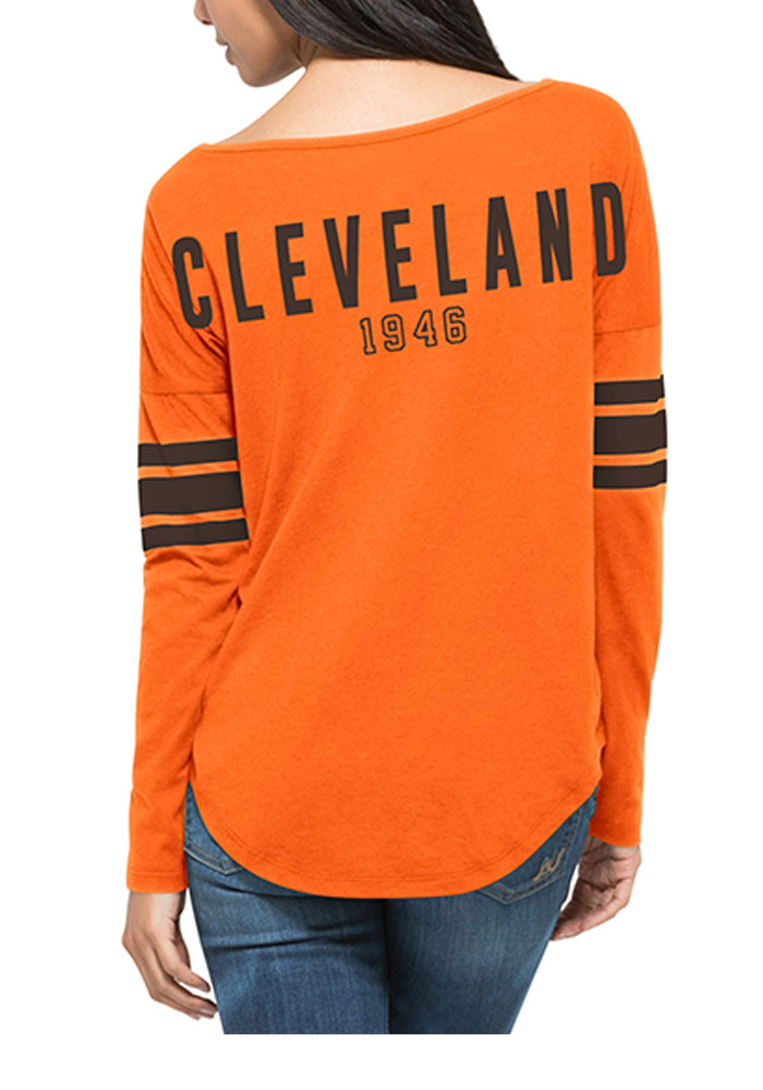 '47 Cleveland Browns Womens Orange Courtside LS Tee - Image 2