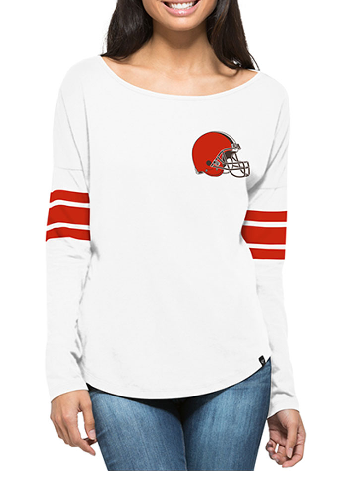'47 Cleveland Browns Womens White Courtside LS Tee - Image 1